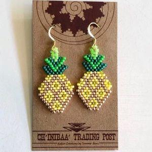 Ch'inibaa Trading Post   Beaded Pineapple Earrings